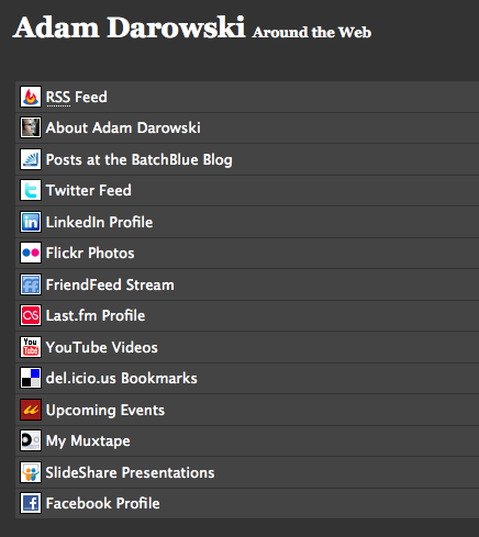 Darowski.com footer with custom icons on list items